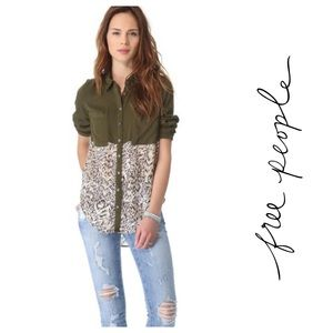 Free People Welcome to the Jungle Army Green Top